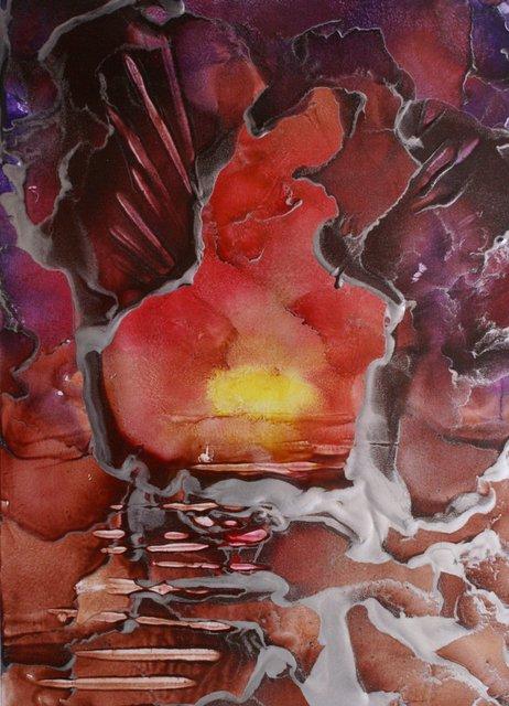 Bijna-dood-ervaringen. ''Naar het licht'', een werk van wasschilder Peter de Jongste siert de cover van 'doorheen het leven, doorheen de dood' van Marianne Visser van Klaarwater.