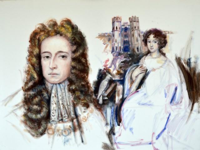 Stadhouder, koning Willem III endiens vrouw Mary II. eendoor Giustave Nouel gecshilderd portret. , een door Gustave Nouel geschilderd portret.