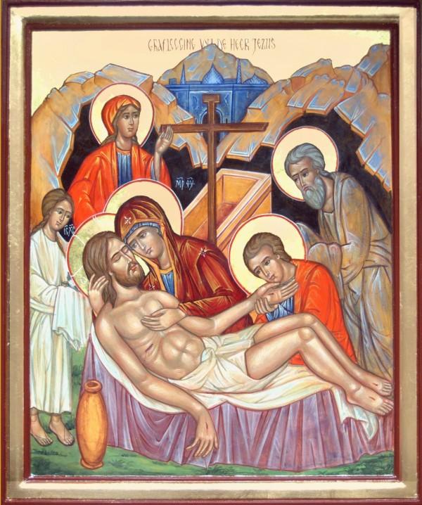 Afscheid: graflegging+ Joseph van Arimatea wikkelt Jezus in doeken, icoon van Geert Husstege