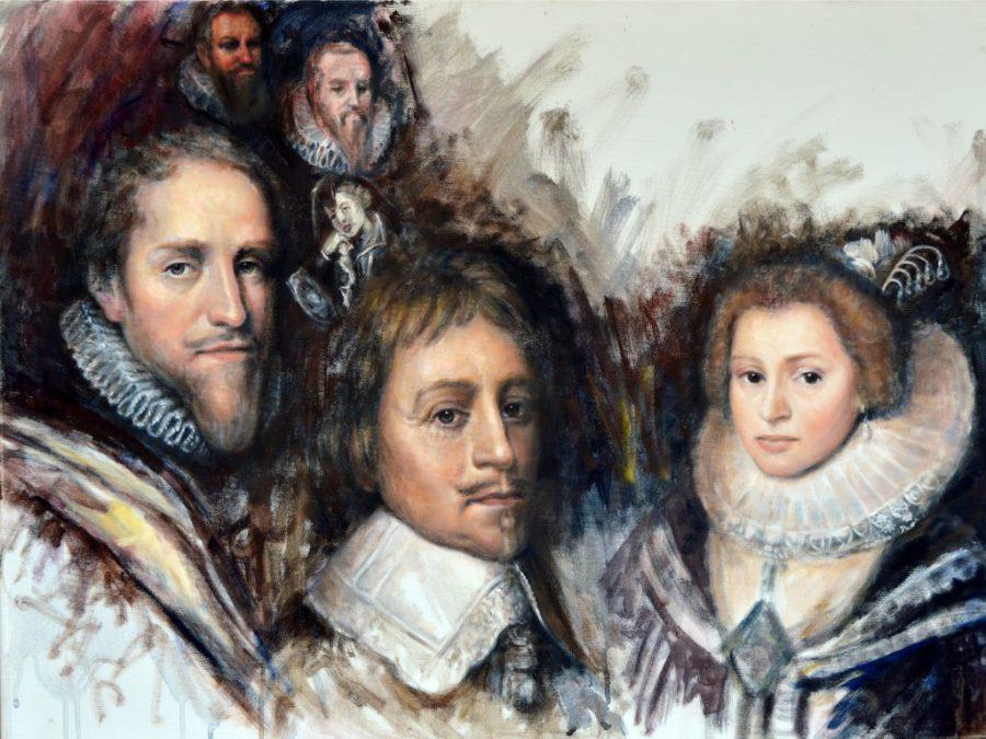 Gouden Eeuw :Maurits en zijn broer Frederik Hednik en echtgenote Amalia van Solms, een portret van Gustave Nouel .