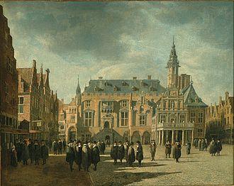 Dagje uit in Haarlem: Gerrit Adriaenszoon Berckheyde, 1671, stadhuis van Haarlem