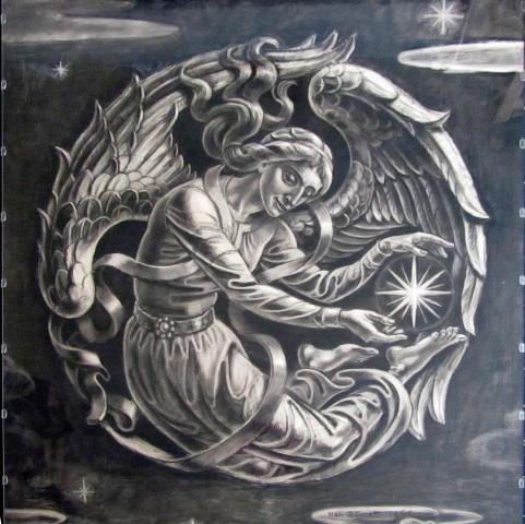 Han Bijvoet , ontwerp voor een Engel met ster van Bethlehem, houtskool op papier, collectie fam. Bijvoet.