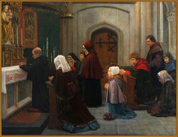 Schiedam stond ver voor de komst van jenever, bekend als bedevartsoord dankzij st Liduina. Doek: Jan Dunsellman, 1196 x 922 , RK Parochie de Goede Herder Schiedam.