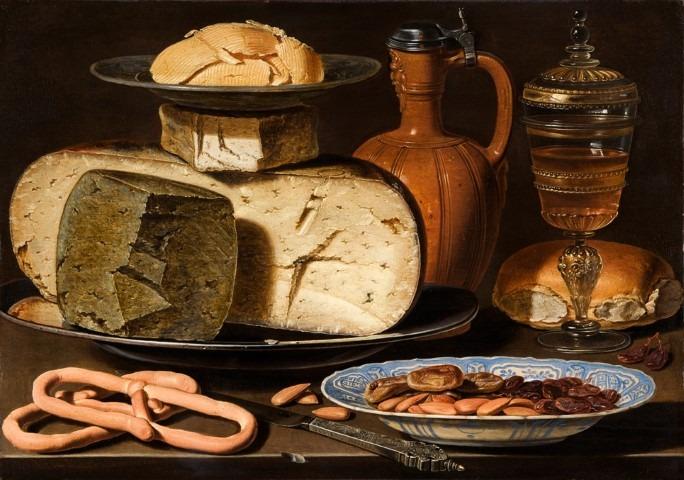 Dutch Food and Cuisine, Stilleven met kazen, amandelen en krakelingen van Clara Peeters, ca. 1615, Mauritshuis, Den Haag.