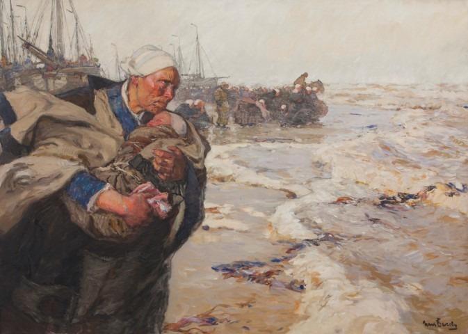 """Hans von Bartels (1856-1913) """"Wachten op de schuiten"""", collectie Genootschap Oud Katwijk/Katwijks Museum."""