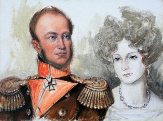 Willem II en Anna Paulowna, portret geschilderd door Gustave Nouel in ''het geloof van Oranje''