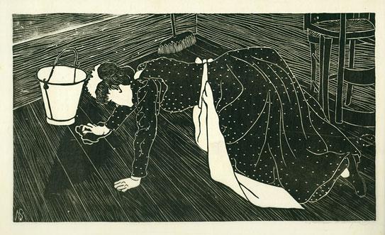 Mesquita , Schoonmaakster met dweil. Anders dan zijn leerling Escher legde De Mesquita vooral gevoel in zijn werk