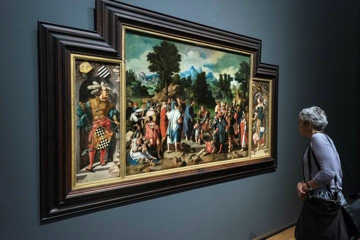 Lucas van der Leyden, de genezing van de blinde van Jerichon, olieverf op doek, 115,7 x 150,5 middenpaneel en 89 x 33,5 cm zijpanelen, Foto Evert Elzinga