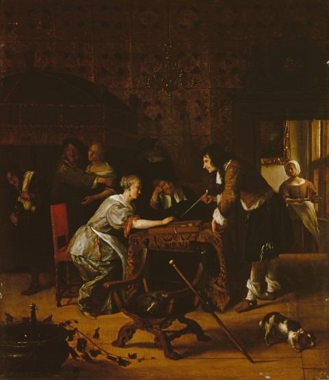 Hollandse Meesters uit de Hermitage,Jan Steen, Trik-trak spel, 1667, olieverf op paneel, 45,4 x 39 cm © State Hermitage Museum, St Petersburg,