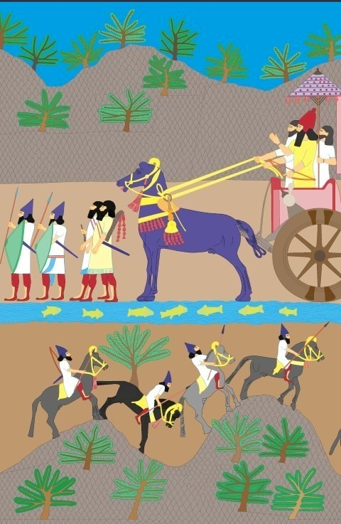 Reconstructie van de kleuren op Assyrisch reliëf Illustratie: Rijksmuseum van Oudheden, Lucas Petit Tentoonstelling 'Nineveh'   20 oktober 2017 t/m 25 maart 2018