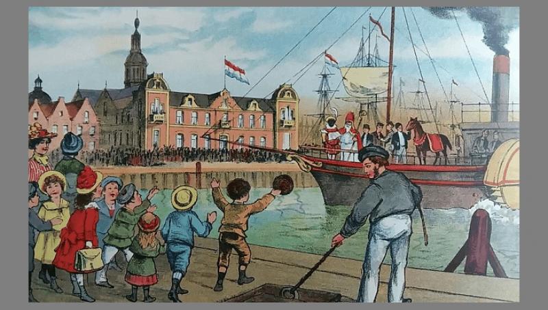 Sint Nicolaasfeest met de stoomboot uit Spanje uit het boek van Schenkman