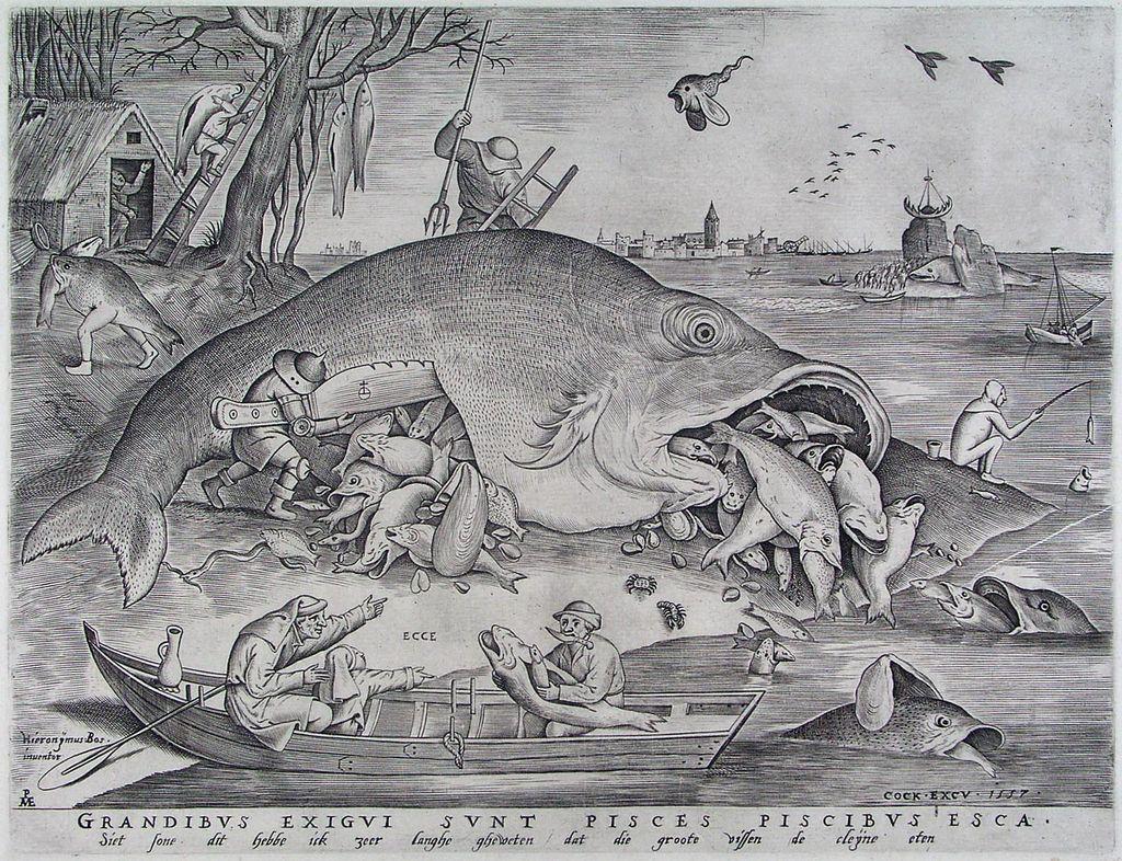 Pieter van der Heyden, naar Pieter Bruegel. De grote vissen eten de kleine, 1557, Museum Boijmans van Beuningen, Rotterdam